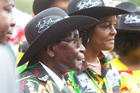 Zimbabwean President Robert Mugabe and his wife Grace attend his 93rd Birthday celebrations in Matopos. Photo / AP