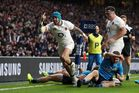 England's Jack Nowell celebrates scoring his side's fourth try during the Six Nations rugby union match between England and Italy. Photo / AP.