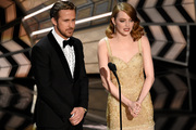 Ryan Gosling and Emma Stone introduce a performance at the Oscars. Photo / AP