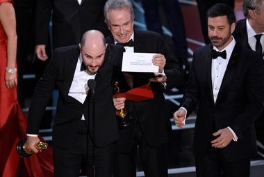 Jordan Horowitz, producer of La La Land, shows the envelope revealing Moonlight as the true winner of best picture at the Oscars. Photo / AP