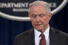 Attorney General Jeff Sessions pauses during a news conference at the Justice Department in Washington. Photo / AP