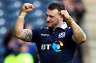 Scotland's Stuart Hogg celebrates winning the Six Nations match against Ireland. Photo / AP