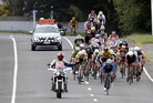 RACING: Riders in Eastown Rd on the Whanganui leg of the BDO Wellington-to-Auckland Cycle Challenge. A letter writer today responds to a report in which a motorist criticised behaviour of some competitors. PHOTO/FILE