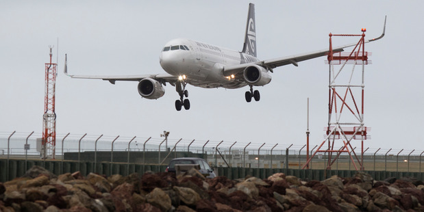 An Air New Zealand Airbus A320 jet landing at Wellington Airport. Photo / Mark Mitchell