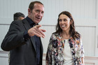 Labour leader Andrew Little with  MP Jacinda Ardern, who won 77 per cent of the vote yesterday in the Mt Albert byelection. Photo / Michael Craig