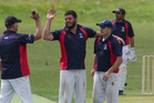 Geyser City bowler Matt Mitchell, (centre) celebrates a taking a wicket for his side. PHOTO/ FILE