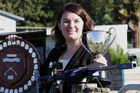 RAPID PROGRESS: Hawke's Bay smallbore rifle shooter Kirsten Birrell with her haul of trophies, medals and badges from the weekend's nationals in Christchurch. PHOTO/PAUL TAYLOR