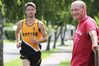 HELPING HAND: Hawke's Bay middle distance runner Eric Speakman (left) and his Napier Harriers Club clubmate Ken Maclaren. PHOTO/WARREN BUCKLAND