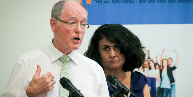 EQUALITY: Former National Party leader Don Brash, who represents anti-separatist group Hobson's Pledge, at the Havelock North meeting with group spokeswoman Casey Costello last night. PHOTO/WARREN BUCKLAND.