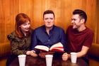 Alice Levine, Jamie Morton and James Cooper host the popular My Dad Wrote a Porno podcast. Photo / Supplied
