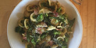 Pasta with broccoli, sage and bacon.
