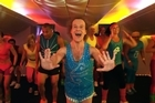 Richard Simmons struts his stuff in an Air NZ safety video from 2011