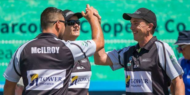 The Blackjacks celebrate at the Bowls Premier League in Auckland. Photo / Supplied