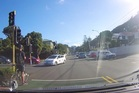 The Kiwi Cabs vehicle can be seen in the wrong lane crossing the intersection against the red light. Photo / Supplied