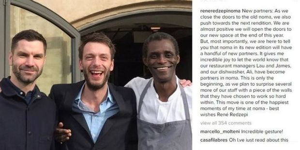 Ali Sonko, right, with fellow new co-owners restaurant managers Lau Richter and James Spreadbury. Photo / Instagram