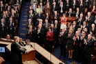 Donald Trump was widely applauded by Republicans as he spoke to a joint session of Congress on Capitol Hill in Washington. Photo / AP