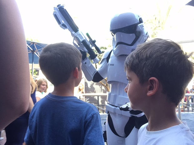 Liam Dann's sons are questioned by a Storm Trooper at Star Tours, Disneyland. Photo / Liam Dann