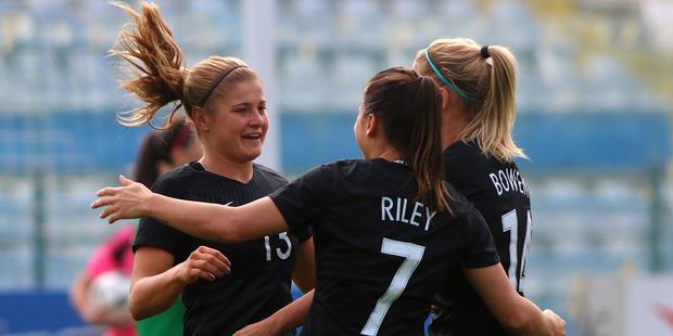 Rosie White celebrates her first half goal. Photo / Yiannis Kourtoglou