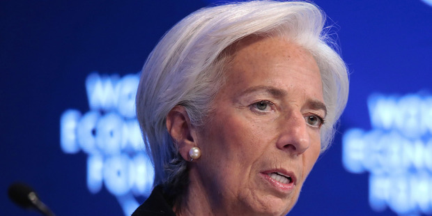IMF Managing Director Christine Lagarde speaks at the World Economic Forum (WEF) in Davos, Switzerland. Photo / Bloomberg