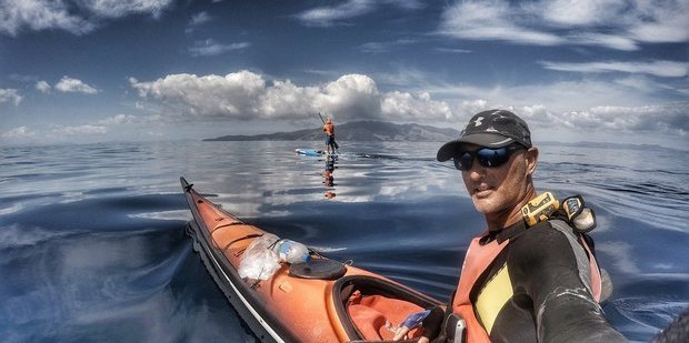 Paddle boarder Brent Bourgeois (background) and kayaker Nathan Pettigrew. Photo/Supplied