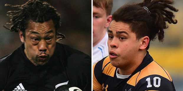 Jacob Umaga, right, says he looks up to his uncle Tana, and used to watch him play rugby on YouTube. Photos / Getty Images