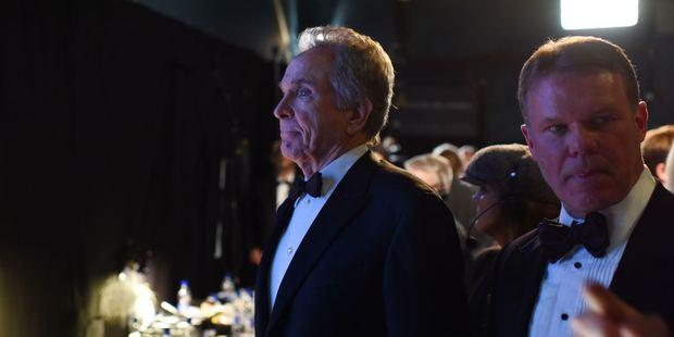 Warren Beatty and Brian Cullinan wait backstage at the Oscars. Photo / Splash News