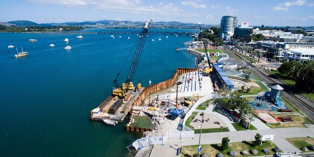 Drone footage reveals how progress on Tauranga's tidal stairs at The Strand is going. Photo/supplied
