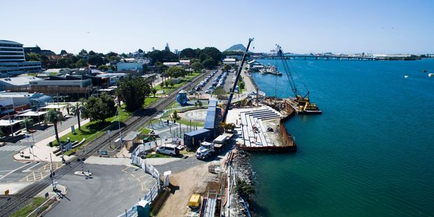 Loading Drone footage reveals how progress on Tauranga's tidal stairs at The Strand is going. Photo/supplied