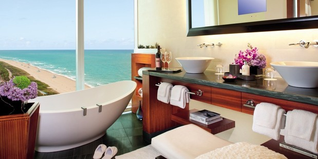 Before sinking into a butler-drawn bath at the Ritz-Carlton Bal Harbour in Miami, guests can choose from 10 bath salts. Photo / Ritz-Carlton Bal Harbour