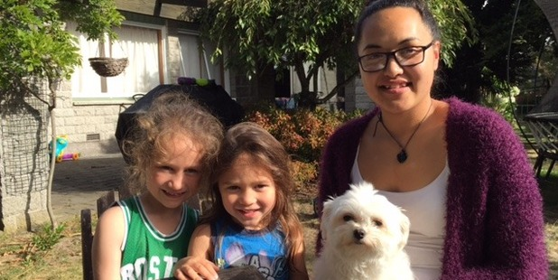 Taison, 6, Matai, 3, and their aunty Eleanor Muriwai after being reunited with their beloved Trinnie.
