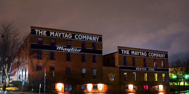 The closed headquarters for the Maytag company that had a long and successful run of over one hundred years in Newton, Iowa.