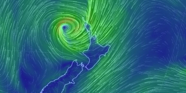 Loading A weather map of New Zealand as Thursday's storm closes in. Photo / Earth.nullschool.net