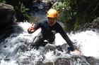 Christopher Storer canyoning with Raglan Rock.