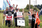 Silver Fern Farms staff at Takapau in Central Hawke's Bay began three days of strike action on Wednesday. Photo / Paul Taylor