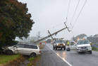 An accident that brought down powerlines on State Highway 12, Kaikohe, on Thursday evening. Photo/ Debbie Beadle