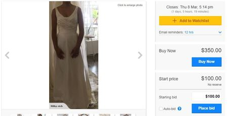 The wedding dress from Filthy Rich available to purchase on TradeMe. Photo / screenshot, TradeMe