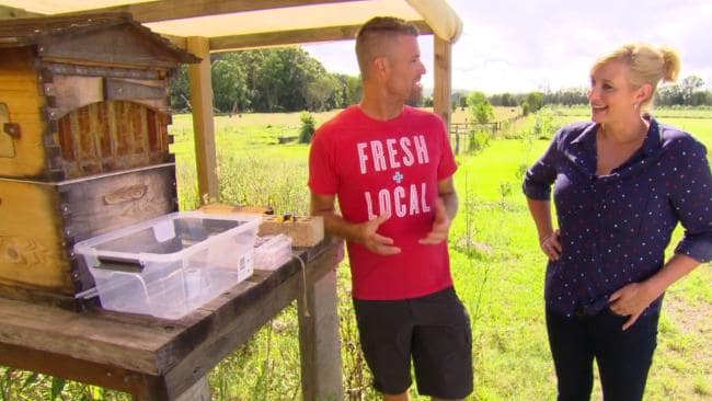 Pete Evans with his bee hive, where he collects around 10-20L of honey a year. Photo / Channel 7