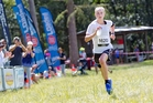 Cate Pedersen approaches the finish line in Rotorua. Photo/Daily Post