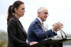 New Zealand's Prime Minister Jacinda Ardern, left, listens as Australian Prime Minister Malcolm Turnbull makes a point during a joint press conference in Sydney. Photo / AP