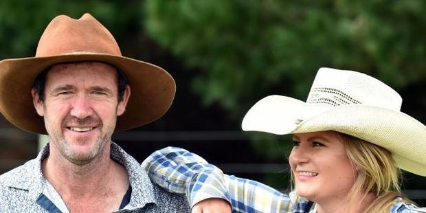 Nigel Cameron and kidney donor Tori Booth, from Balfour, during the Waikouaiti rodeo on Saturday. Photo / Peter McIntosh