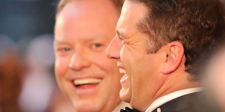 Peter Helliar talks with Karl Stefanovic at the 59th Annual Logie Awards at Crown Palladium on April 23, 2017 in Melbourne, Australia. Photo / Getty