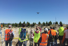 A drone taking off on a demonstration flight at the conference field trip to Kaingaroa Forest. Photo/Steve Wakelin