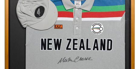Martin Crowe's signed New Zealand 1992 World Cup cap and shirt. Photo / Sothebys