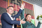 New Green Party co-leader Marama Davidson is congratulated by fellow co-leader James Shaw yesterday. Photo / Michael Craig