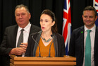 Prime Minister Jacinda Ardern, with Regional Economic Development Minister Shane Jones, left, and Greens co-leader James Shaw, announcing the Government ban. Photo / Mark Mitchell