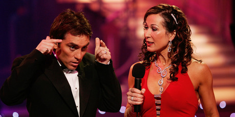 Dancing with the Stars host Jason Gunn with his co-host Candy Lane in 2005. Photo / Chris Skelton