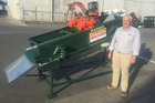 Gavin Briggs of Rainer Irrigation with the Vibra Screen. Photo / Supplied