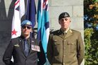 Hamilton councillor James Casson left wearing his United Nation Beret alongside his son Jon Casson who serves in the New Zealand army. Photo / Facebook
