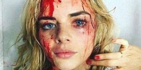 This photo of Samara Weaving covered in fake blood was circulated online. Photo / Twitter
