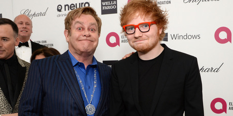 Sir Elton John (L) recording artist Ed Sheeran attend the 22nd Annual Elton John AIDS Foundation Academy Awards Viewing Party. Photo / Getty